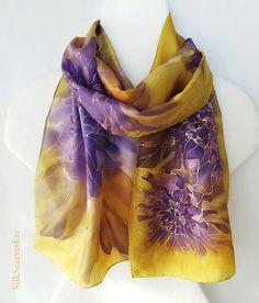 Gold purple silk scarf  Handpainted silk scarf by SilkScarvesEtc, $165.00