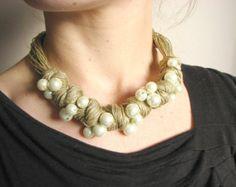 Azul cerámica collar de lino por GreyHeartOfStone en Etsy
