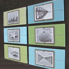 Set of Six Plank Frames with Shades of Aqua and Green for 5x7 Pictures. $169.00, via Etsy.
