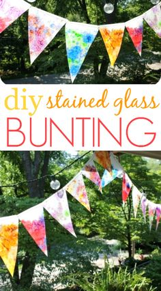 How to make a bunting using a melted crayon technique that results in a stained glass effect. This bunting is beautiful with the light shining through!