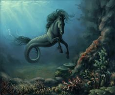 K is for Kelpie - Mystic water horse from ancient lore. Rises to the surface, spots prey from the shore. Traps them in seaweed. Drags 'em under for a feed. And they're seen again nevermore