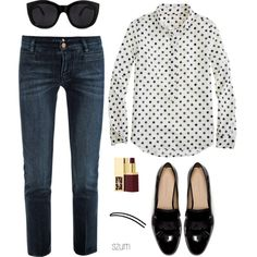 185 by szum on Polyvore featuring moda, J.Crew, MiH Jeans, Zara, Le Specs and Yves Saint Laurent