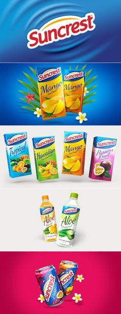 Suncrest drinks range by Design Happy, a strategic packaging & branding design agency based in Kingston Upon Thames, UK. http://www.designhappy.co.uk