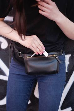 Hey, I found this really awesome Etsy listing at https://www.etsy.com/listing/187534859/black-leather-belt-bag-waist-bag-fanny