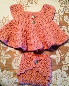 Spring Dress and Diaper Cover by crochetdesignsbytina for $45.00