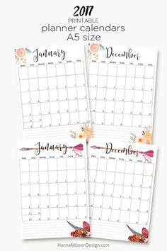 2017 – printable A5 planner calendars – Hanna Nilsson Design