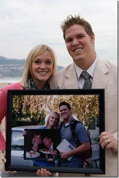 great anniversary idea take a photo of you holding your previous years anniversary photo.
