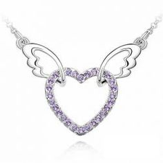$3.12 Sweet Cute Style Angel Feather Heart Shape Rhinestone Inlaid Necklace
