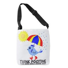 Blue Bird - Think Positive Message Crossbody Bag - accessories accessory gift idea stylish unique custom