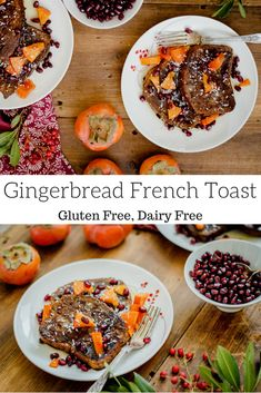 Gingerbread French Toast (gluten free, dairy free) -I made without ginger and nutmeg Healthy Holiday Recipes, Gluten Free Recipes For Breakfast, Gluten Free Breakfasts, Sugar Free Recipes, Real Food Recipes, Dairy Free French Toast, Healthy Toddler Meals, Toddler Food, French Toast Ingredients