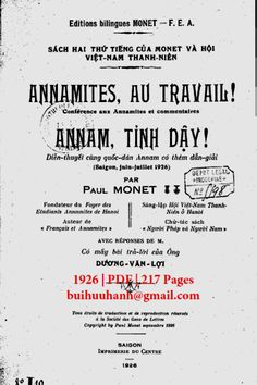 Annam Tỉnh Dậy (NXB Sài Gòn 1926) - Paul Monet, 217 Trang | Sách Việt Nam Monet, Bullet Journal