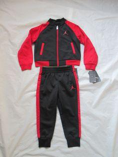 4aad19917a6b34 Nike Boys Michael Jordan Black Red Tracksuit 2 Piece Set Size Newborn-5T  754898
