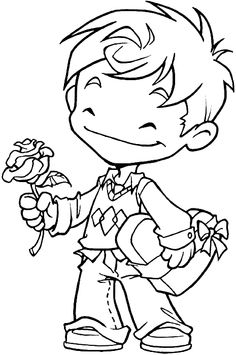 Boy with Valentine candy and a rose