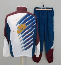 Vintage 90s Nike Blue Purple White Track Suit Windbreaker Jacket Pants Mens L #Nike #TracksuitsSweats