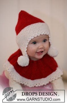 Baby Noel / DROPS Baby - Set of knitted Santa hat and neck warmer for baby and children in 2 threads DROPS Alpaca Bonnet Crochet, Crochet Poncho, Knit Or Crochet, Crochet For Kids, Free Crochet, Crochet Hats, Baby Knitting Patterns, Knitting For Kids, Baby Patterns