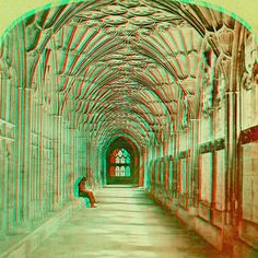Cloisters, Gloucester Cathedral anaglyph3D by depthandtime, via Flickr