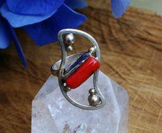 Vintage-look Red Bloedkraal Sterling Silver Ring door EASTERNSOULS
