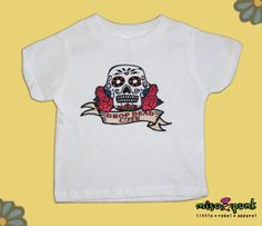 Sugar Skulls and Roses Baby and Toddler White by MisoPunk.com, $15.00