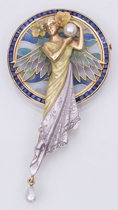 Masriera y Carreras - An Art Nouveau gold, enamel, sapphire, pearl and diamond brooch, Barcelona, circa 1925. Length 7.5cm. #Masriera #Carreras #ArtNouveau #brooch