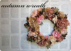 autumn flower wreath made out of coffee filters
