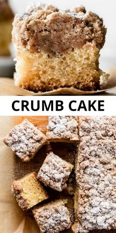 New York-Style Crumb Cake Buttery tender crumb cake topped with DOUBLE the cinnamon crumb cake topping. Big, giant crumbs are soft and buttery and pile high on this classic New York style breakfast crumb cake. Recipe on sallysbakingaddic… Köstliche Desserts, Delicious Desserts, Dessert Recipes, Cupcake Recipes, Yummy Recipes, Cinnamon Crumb Cake, Sallys Baking Addiction, Cake Toppings, Savoury Cake