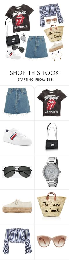 """""""denim skirt"""" by julia-sidorenko on Polyvore featuring RE/DONE, Tommy Hilfiger, Yves Saint Laurent, Michael Kors, Superga, Love and Isabel Marant"""