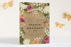 Floral Canopy Foil-Pressed Wedding Invitations