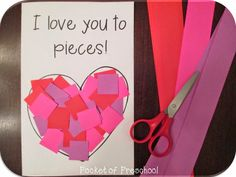 Valentine's Day Card!  Give students pre-cut strips and they cut their own squares to glue to their heart.  The inside of the card is blank for students to write who the card if for, a message, and their name! Pocket of Preschool