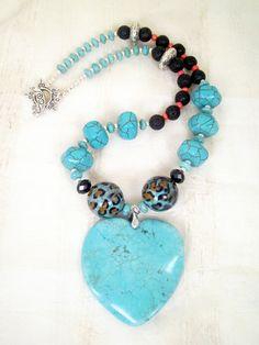 Turquoise howlite freeform heart hexagon by TashinkaBeadingHeart, I Heart Turquoise on etsy.com: $50.00