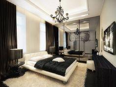 decoração de quarto preto e branco com lustre e espelho