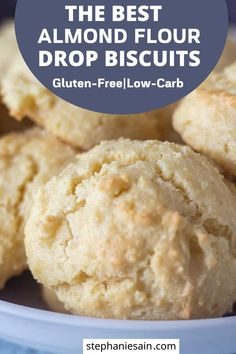 These Almond Flour Biscuits are an easy one bowl recipe that comes together in 20 minutes. Drop biscuits that require no kneading or rolling. Great as a snack or side with meals. Almond Flour Biscuits, Baking With Almond Flour, Gluten Free Biscuits, Almond Flour Recipes, Keto Biscuits, Gluten Free Baking, Recipes With Hazelnut Flour, Almond Flour Bread, Low Carb Biscuit