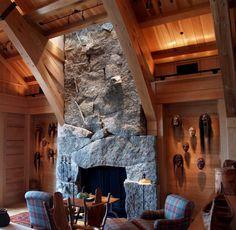 Granite Fireplace, Stone Masonry, Fresh Water, Flooring, Cabin Ideas, Fireplaces, Woods, House, Pearl