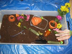 Soil Sensory Tub. This is a big hit with my K's. Inside the soil tub: Soil, real garden tools, fake flowers, pots, gloves, rocks, plastic insects, bones, and plastic carrots (easter egg version). I put a plastic tablecloth on the floor underneath it for a quick and easy cean-up. Lid goes on with everything in it, and then it gets rolled to the corner.This is a great spring center idea.