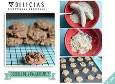 Receitinha deliciosa de um cookies de banana super fácil com só 2 ingredientes!  2 bananas grandes - maduras  1 xícara de flocos de aveia (fina)  Se quiser pode adicionar também: -um punhado de gotas de chocolate , pedaços de nozes trituradas -canela -passas. Os cookies das fotos tem um punhado de chocolate, uma colher de chá de canela e 1/4 xícara de nozes trituradas. Rende 16 cookies com essas medidas. Cozinhar a 180 graus por 15 minutos em uma assadeira untada.