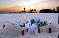 You better be okay with sand in your pants: Private Beach Satay BBQ | Velassaru Maldives
