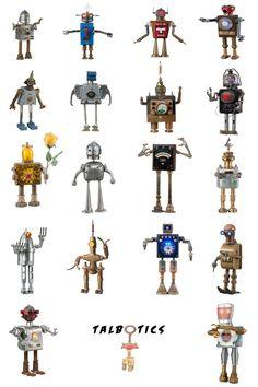Talbotics Robot Sculptures Poster / Assemblage Robots / Robot Art / Robot Taxonomy. $50.00, via Etsy.
