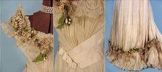 1890 dress - in Chiffon Silk of taffeta, trimmed with  wax branch Lilacs