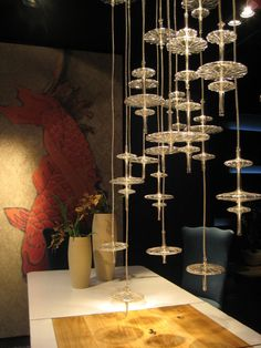 Hydra Collection   Gamma   Blown Glass Shapes, Transparent Or Satinized,  Hanging On A