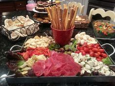 Party Antipasto Platter using a ceramic pot I had for the breadsticks to give it a little pizzazz