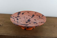 Blue Bespattered Ceramic Serving Bowl by WildwoodCeramics on Etsy
