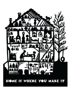 """So Sweet, Love this! Print of a paper cut. Home is where you make it 11x14"""" print."""