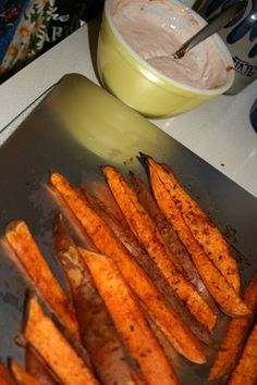These sweet potato fries are sweet and spicy.