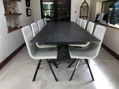Extendable version of our Xenon dining table with Blaze Dark ceramic top and Graphite frame. CANDY dining chairs in Splash Natural and Graphite legs. Delivered to our client in Merseyside. Dining Chairs, Dining Table, Leather Bed, Sofa Design, Modern Bedroom, Contemporary Furniture, Sideboard, Graphite, Sofas