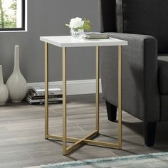 16 Square Side Table White Marble/Gold - Saracina Home, White Faux Marble/Gold