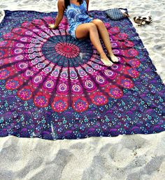 Large Square Indian Mandala Tapestry Wall Hanging Throw Towel Beach Yoga Mat Boho Home Decoration Tapestry Beach, Bohemian Tapestry, Tapestry Wall Hanging, Boho Gypsy, Bohemian Style, Bohemian Bedspread, Indian Tapestry, Hippie Bohemian, Wall Hangings