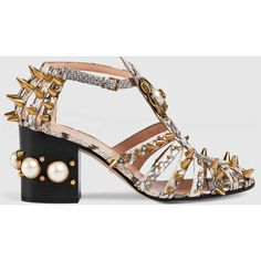 Gucci Snake Mid-Heel Studded Sandal ($1,980) ❤ liked on Polyvore featuring shoes, sandals, heels, grey, mid-heel shoes, grey heel sandals, heeled sandals, studded sandals and gucci sandals