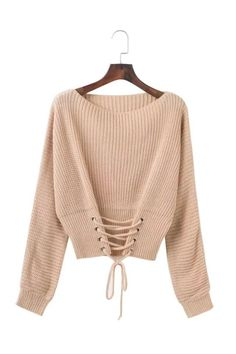 Pure Color Scoop Long Sleeves Lace Up Sweater