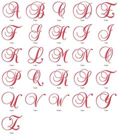 Set of fancy satin script machine embroidery fonts for instant download for the 4x4 hoop or larger. The uppercase letters are 3.85 inches at