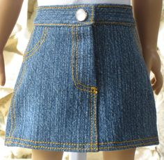 Medium blue denim jeans skirt for an 18 doll. by TinaDollDesigns. www.etsy.com/listing/236278560