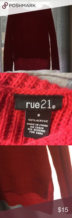 Rue 21 high low sweater Red. Never worn.  Size S.  Has a deep red color. Check out my closet for this sweater just in a different color. Any questions just ask. I accept some offers. Check out closet for more. Rue21 Sweaters